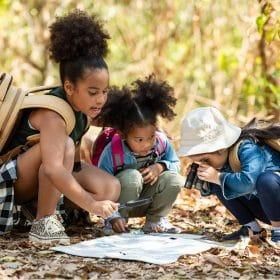 Kids doing a scavenger hunt